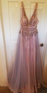 Light pink and light blue prom dress